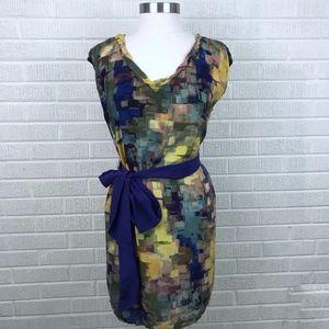 Anthropologie Maeve Silk Dress Tie Waist Abstract